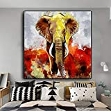 DCLZYF Moderno Colorido Elefante Animal Cartel Pintura impresión Lienzo Pared Arte Imagen para decoración de habitación Hoom-80x80cm (sin Marco)