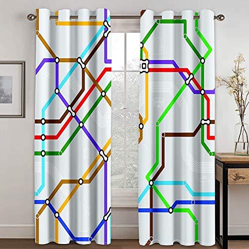 Bishilin Gardiner gardiner polyester med mönster vardagsrum, tunnelbana karta gardiner långa öljetter ogenomskinlig 214 x 274 cm