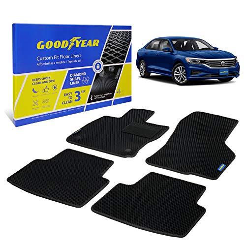 Goodyear Alfombrillas Coche para Volkswagen Passat 2020-2021, 4 pcs Set , 1. & 2. Fila, Alfombrilla Coche, Color Negro