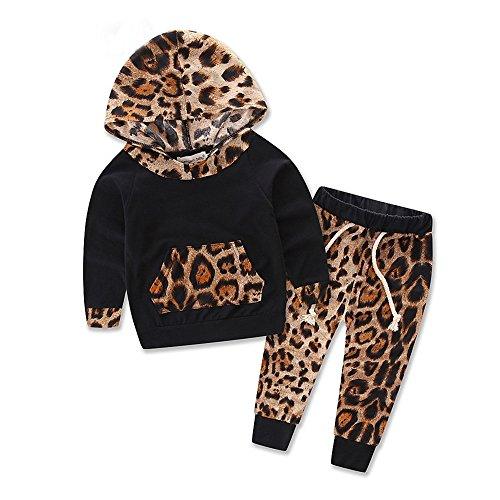 squarex squarex Baby Set Langarm Leopard Print Trainingsanzug Top + Hose Outfits Set Gr. 0-6 Monate , Schwarz