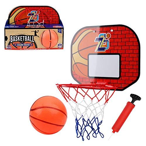 miss-an Canasta de baloncesto mini aro para pared, para colgar en la pared, con pelota de baloncesto y bomba, para niños y adultos
