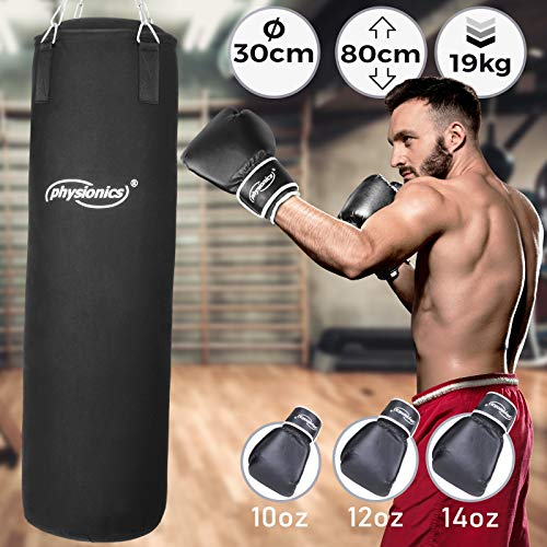 Boxsack Set | inkl. Boxsack gefüllt 19 kg, 30/80 cm, Boxhandschuhe Großenwahl (10, 12, 14 oz), mit Stahlketten und Karabinerhaken | Punching Bag für Kickboxen, MMA, Muay Thai, Kampfsport (12 oz)