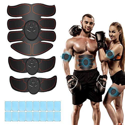 Breett Electroestimulador Muscular, Estimulador Abdominal,ABS Estimulador Muscular para Hombre Mujer, Abdomen Brazo Piernas Glúteos, Almohadillas de Gel 16pcs (Negro)