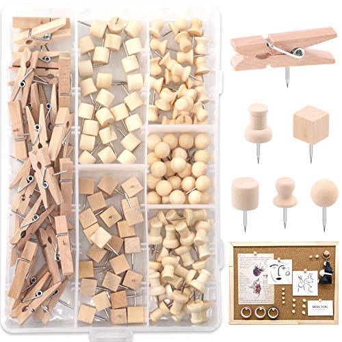 Keadic 135 Pieces 6 Types Walnut Push Pins for Cork Board, Wooden Head Pins Steel Point Thumb Tacks for Documents, Photos, Maps, and Bulletin Boards (Square, Ball, Hat, Clips, I-Shaped, Cylinder)