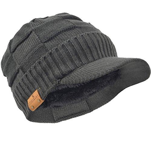 HISSHE Homme Bonnet Tricot Polaire Casquette Visière Chapeau Hiver B322/B5042 (Gris)