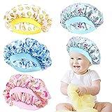 4 Pieces Kids Satin Bonnets Wide Band Silk Bonnet Night Sleep Cap Toddler Hair Bonnet Sleeping Hat For Natural Hair Kids Children Infant Newborn Babies Girls