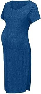 LEXUPA Women Maternity Summer Short Sleeve Casual Sundress Pregnancy Dress Clothes