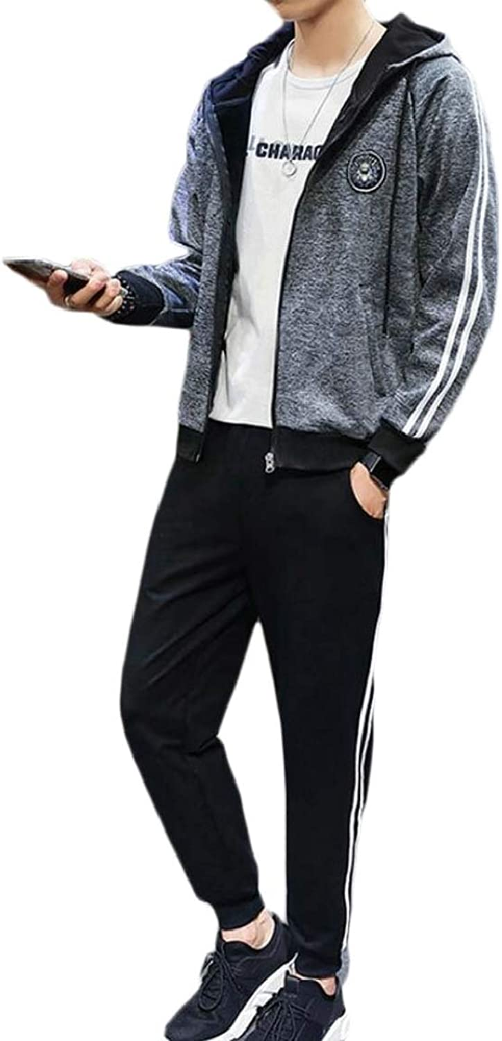 QD-CACA Men 2 Pieces Autumn Zipper Sweatshirt Sport Suit Jacket Sweatpants