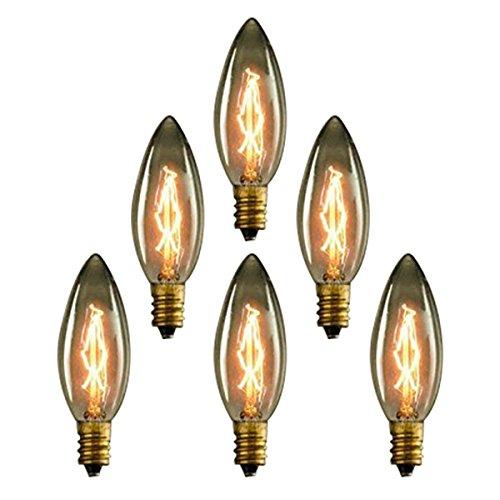 KJLARS 6x Vintage Edison Glühbirne E14 25W C35 Kerzenbirne Dimmbar Warmweiß Retro Birne Antike Filament Leuchtmittel Ideal für Nostalgie Beleuchtung