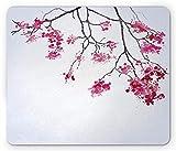 Lunarable Japanese Mouse Pad, Cherry Blossom Sakura Tree Floral Branch Spring Season Theme Image, Rectangle Non-Slip Rubber Mousepad, Standard Size, Dimgray Black