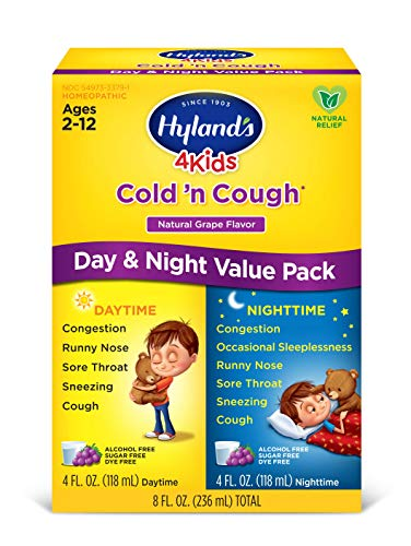 Cold Medicine for Kids Ages 2+ by Hylands, Cold and Cough 4 Kids Daytime, Grape Cough Syrup Medicine for Kids, Decongestant, Allergy and Common Cold Symptom Relief, 4 Fl Oz Each
