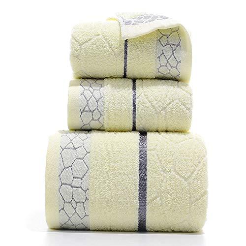 CXBHB Juego de toallas de tres piezas de algodón toalla de baño toalla de tres piezas cubo de agua toalla casa set 3 Una toalla y dos toallas (toalla 34 * 74 toalla de baño 70 * 140)