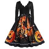 Disfraz Halloween Mujer Talla Grande Disfraces Halloween Mujer Vestido Talla Grande de Manga Larga Lolita Dress (Naranja, XXL)
