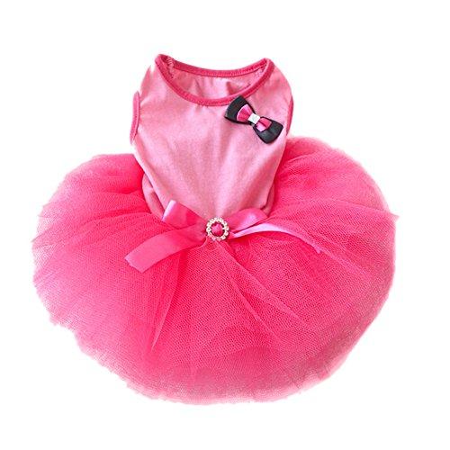 Silvercell Puppy Pet Dog Cat Princess Tutu Dress Bow Crystal Belt Skirt Clothes (XS, Rose)