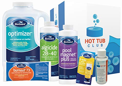 HotTubClub Premium Swimming Pool Soft Water Start Up Kit Deluxe - Contains (BioGuard Burnout 73, Algaecide 28-40, Pool Magnet Plus, Optimizer and 5-Way Water Test Strips, Water Analysis (6 Items)