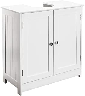 Bonnlo Pedestal Under Sink Storage Bathroom Vanity with 2 Doors Traditional Bathroom Cabinet Space Saver Organizer 23 5/8