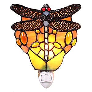 Bieye L11401 Dragonfly Tiffany Style Stained Glass Night Light Wall Lamp with 5 Inch Wide Handmade Lampshade, Red