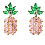 Sterling Silver Cubic Zirconia Fruit Theme Pink Pineapple Clip on Earrings for Girls Women Non Pierced