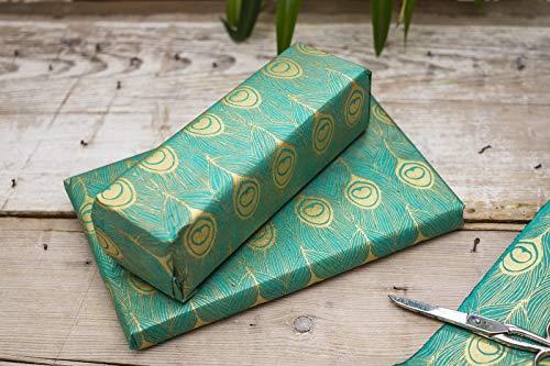 DHAKHWA Geschenkpapier mit Muster handgeschöpftes Papier Fair Trade (Pfau jade-gold)