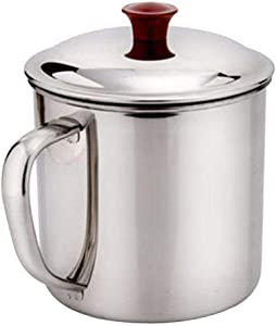 Dependable Camping Cup Mug - 1.3 Liter (42 oz) Stainless Steel Cookware Pot for Coffee Water and Hot or Cold Food with Lid- Size L Lightweight