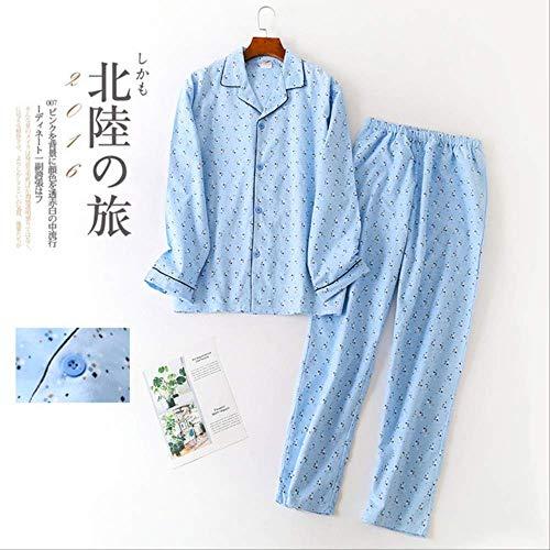 XFLOWR Sleepware Man Herbst Winter Langarmhose Pyjama Set Gestreifter Baumwoll-Turn-Down-Kragen Herrenpyjama Schlafanzug Herren Nachtwäsche L Hellblaues Quadrat