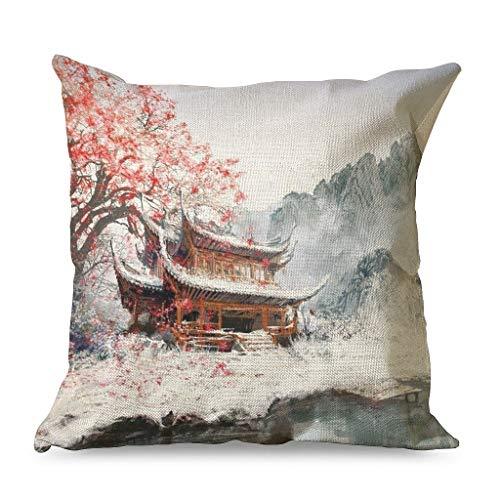 HoodBA - Federa per cuscino vintage con stampa di albero di acero rosso, 45 x 45 cm, colore: bianco