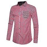 OEAK Camisa para hombre de manga larga Oktoberfest, camisa a cuadros, corte ajustado, camisa a cuadros para niños y hombres, A rojo., L
