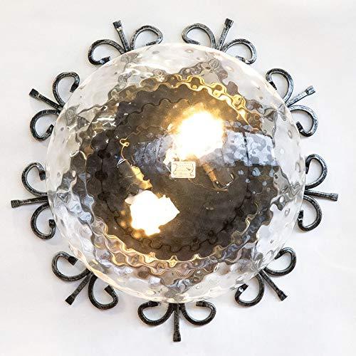 Plafoniera in ferro battuto per esterno Giardino Gazebo pergolato 44 cm due luci