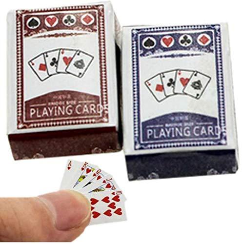 AMOYER 1 Juego Mini Naipes Juegos De Papel Poker Naipes 1/12 Miniatura De Muñecas De Juguete Decoración del Dollhouse Accesorios Divertidos Juguetes para Los Niños