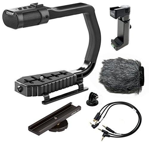 Universalgriff für Sevenoak micrig Video mit integriertem Stereo-Mikrofon, Paravent und Halterung für DSLR-Kameras, iPhone/Android und GoPro hero3, Hero3 + & HERO4
