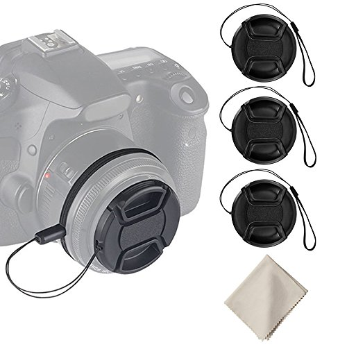 3PCS 55mm Tapas de Objetivo, Tapas de Objetivo para Nikon D3400 D3500 D5600 DSLR Camera with Nikon 18-55mm f/3.5-5.6G VR AF-P DX, y Otra Lente de 55mm
