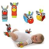 Hosaire 4 Piezas Calcetines y Muñeca para Bebé, con Juguetes, Adecuado para bebé 0-6 Meses, Sonajeros incorporados