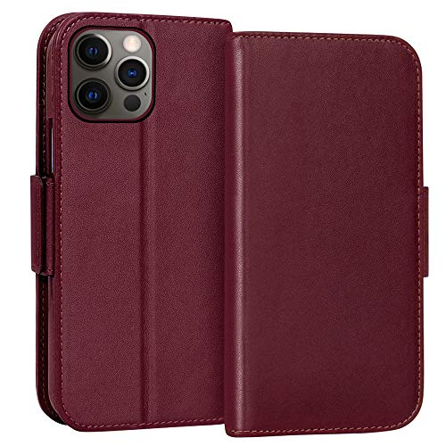 "FYY Case for iPhone 12 / iPhone 12 Pro 5G 6.1"", Luxury [Cowhide Genuine Leather][RFID Blocking] Wallet Case, Flip Folio Case with [Kickstand Function][Card Slots] for iPhone 12/iPhone 12 Pro Wine Red"