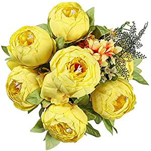 Floralsecret Artificial Silk Peony Flowers Bouquet Vintage Fake Flower Home Wedding Decor(Spring Yellow)