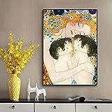 JXFFF (40x60cm No Frame) Pintar por Numeros para Adultos Pinturas de Estilo bebé Gemelos de Amor de Madre e imágenes murales para la decoración de la Sala de Estar