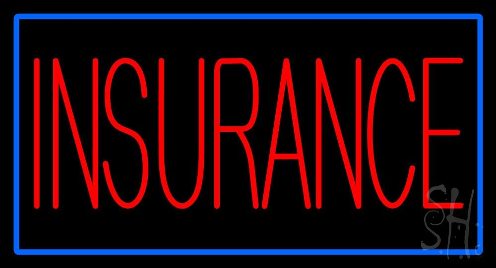 Red Special Campaign Insurance with Blue Border LED Neon Omaha Mall B Sign 13 - 24 inches x