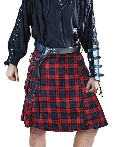 Mens Utility Kilt Pin Scottish Tartan Apparel Black & Irish Hybrid Royal Stewart Pockets Kilts