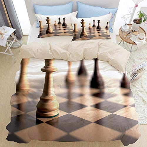 Juego de cama premium de 3 piezas, ajedrez con cabeza de caballo, tablero de ajedrez a cuadros, color negro y marrón, juego de funda nórdica con cremallera de lujo moderno con 2 fundas de almohada Jue