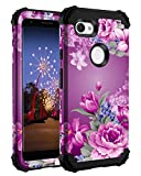 Lontect for Google Pixel 3a Case Floral 3 in 1 Heavy Duty Hybrid Sturdy High Impact Shockproof Protective Cover Case for Google Pixel 3a 2019, Black/Purple Flower