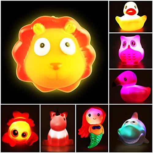 Yojoloin Badewannenspielzeug Baby,Badespielzeug Kinder ab 1 2 3 Jahr,LED Badewanne Spielzeug Badetiere Wasserspielzeug für Kleinkinder Mädchen Junge(8 Stücke)