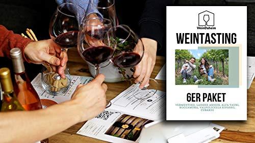 Wein Tasting Set 6er Paket | Home Tasting mit Videobegleitung | Online Weinverkostung | Wein-Probe für Zuhause als Geschenk | 6 Weine
