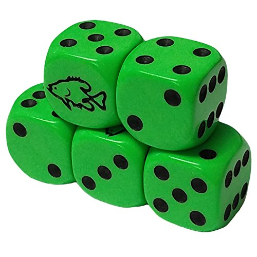 Set of 5 Deluxe Transparent Green Dice 10mm White Spots Organza Bag