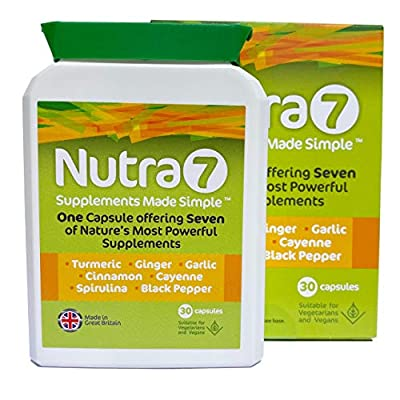 Nutra7 - Supplement Superfoods 30 Capsules Turmeric, Ginger, Garlic, Cinnamon, Cayenne, Spirulina and Black Pepper, Promotes Energy, Immune Function, General Health & Well-Being - Vegetarian Capsules