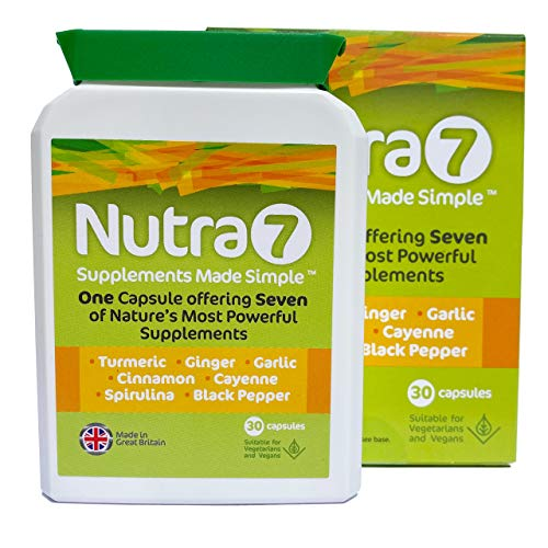Nutra7 - Supplement Superfoods Turmeric, Ginger, Garlic, Cinnamon, Cayenne, Spirulina and Black Pepper. Promotes Energy, Immune Function, General Health & Well-Being - Vegetarian Capsules