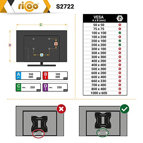 RICOO Ferseh-Halterung S2722 mit Gasdruckfeder Flachbild-Fernseher O-LED Wohnwand LCD TV Wandhalterung Schwenkarm Flachbildschirm Fernseh-Wand-Halter - 5