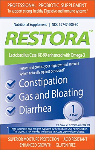 Restora Probiotic Supplement -Immunity Booster-Patented probiotic w/Omega 3, Gut Health Stabilizer Increases Resistance to Infectious Diseases -Calms Inflammation