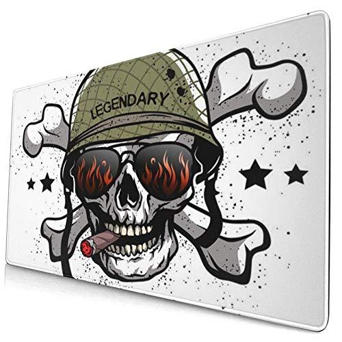 Gaming Mouse Pad, Premium-strukturierte Mouse Mat Pads, süßes Mousepad für Spieler, Sonnenbrillen mit Büro- und Heimskelettschädel und Militärhelm The Army Arms