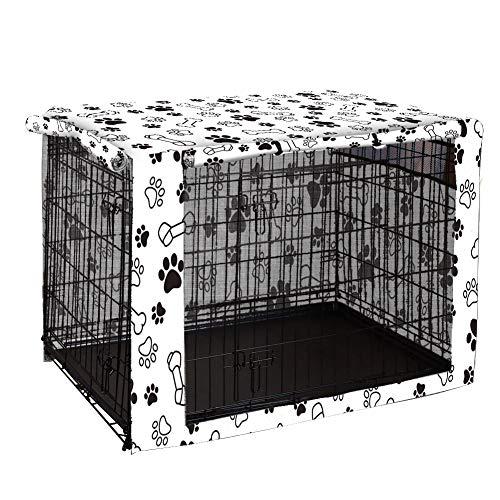 Funda para cajón de perro de doble puerta, duradera a prueba de viento, cubierta para perrera de mascotas proporcionada para caja de alambre para protección interior y exterior