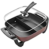 NJC Non-Stick Deep Dish Heavy Duty Electric Skillet with Tempered Glass Vented Lid