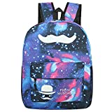 Mily Galaxy Pattern Backpack Canvas Tie Dye School Bag Rucksack without Noctilucence Mustache Blue